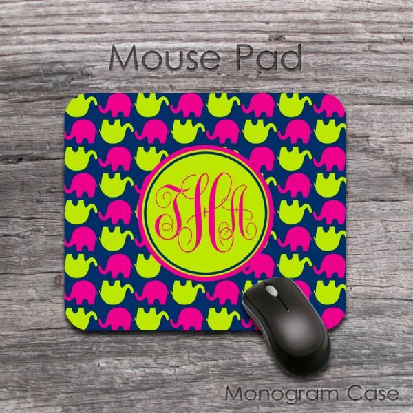 Lime hot pink elephants navy pattern stylish mousepad