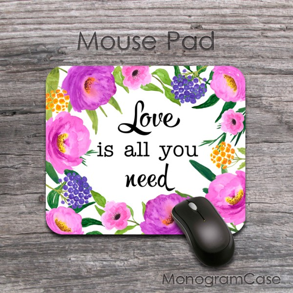 Love is all you need - colorful flower qoute mouse mat