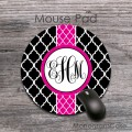 Magenta ribbon black quatrefoil vine monogrammed mat