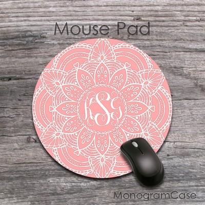Mandala blush pink monogrammed mouse pad