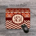 Monogrammed maroon tan chevron aztec tribal pattern mousepad