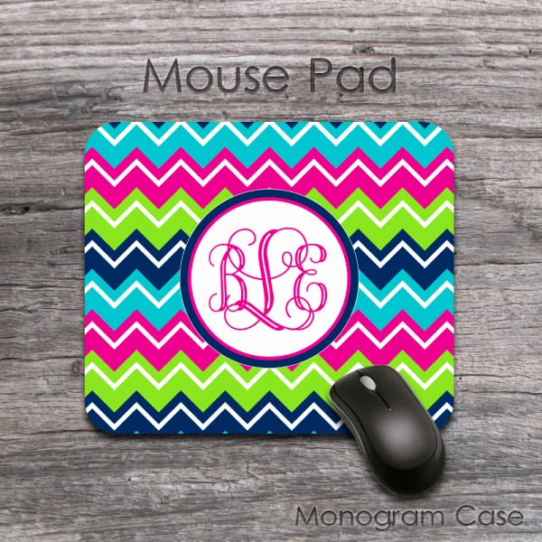 Monogrammed mousepad navy magenta lime turquoise colorful chevron
