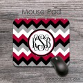 Monogrammed red black white grey chevron mousepad