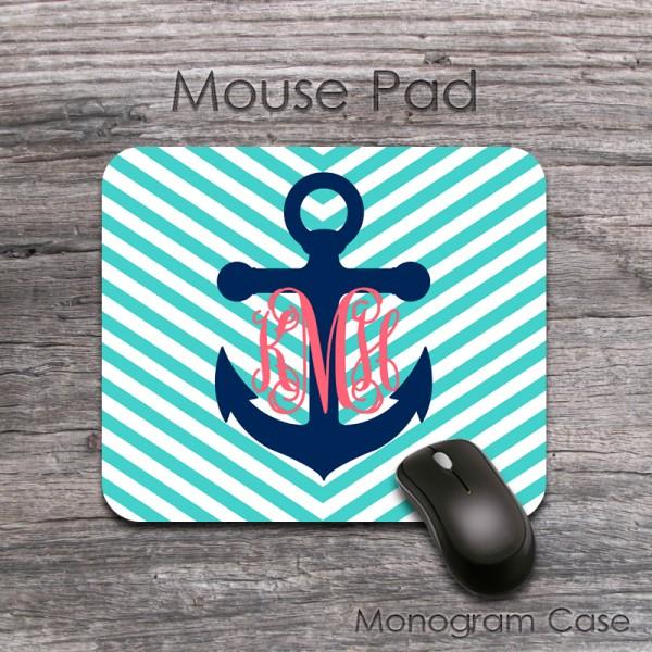 navy anchor on teal arrow chevron customized мousepad