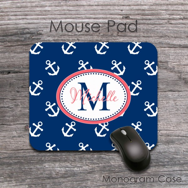 Nautical navy anchor pattern coral label customized mousepad