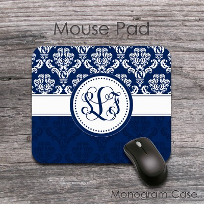 Dark blue damask floral pattern monogram mouse pad