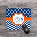 Navy chevron and moroccan design orange label monogrammed mousepad