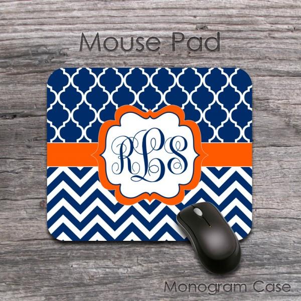 Navy chevron and moroccan design orange label monogrammed mousepad