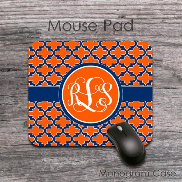 Orange dark blue moroccan patern retro mousepad