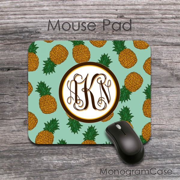 Pineapples print design fruites pattern monogrammed mousepad