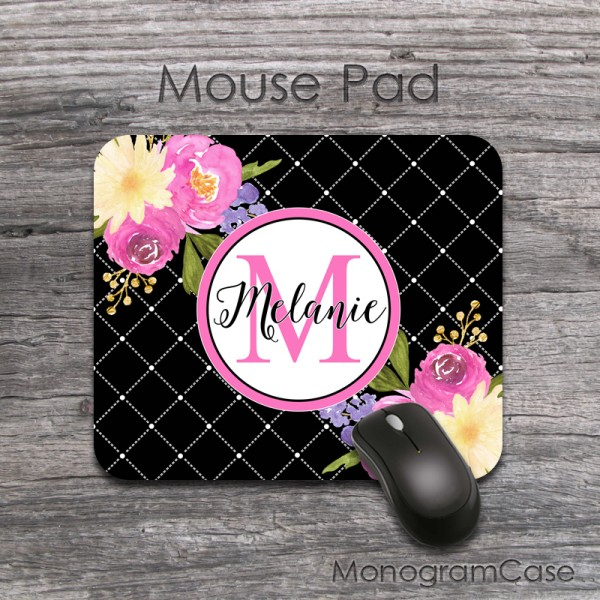 Pink cream watecolor flowers custom mousepad