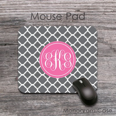 Solid pink label computer mat monogrammed gray clovers