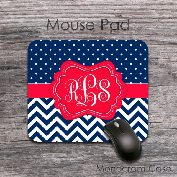 Polka dots and chevron pattern in navy cute personalized mousepad