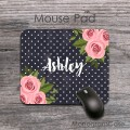Vintage pink roses with name black mouse pad