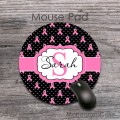 Softpink ribbons black white polkadots customized round mousepad