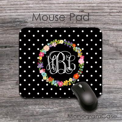 Stylish mousepad polka dots floral wreath design
