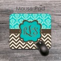Teal and damask brown chevron monogrammed desk mat