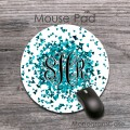Teal shades sparkles black monogram round customized mousepad