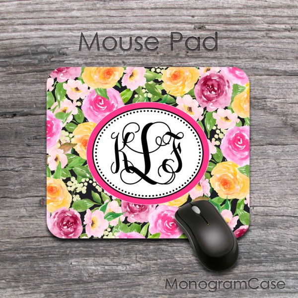 Yellow and pink flowers monogram mouse pad