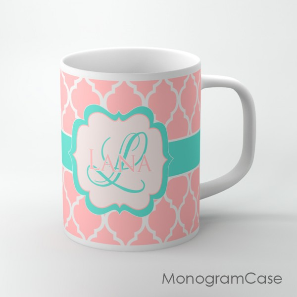 Blush Pink moroccan pattern aqua mint label personalized mug