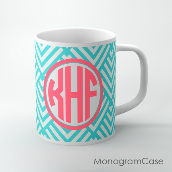 Aquamarine geometric  design coral monogram mug