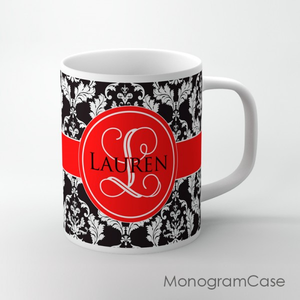Black white damask vintage design red mug