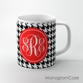Black white houndstooth pattern red design mug