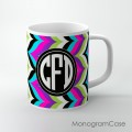 Boho chic multicolored retro chevron background customized mug