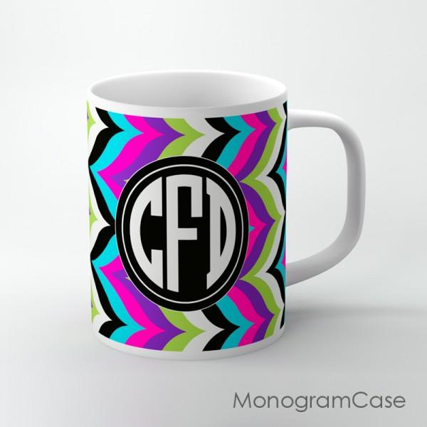 Boho chic multicolored retro chevron background customized mug
