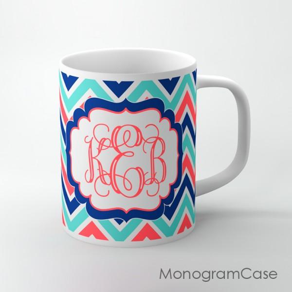 Coral navy aqua blue chevron design custom mug