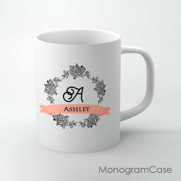 Coral ribbon personalized coffee mug gift