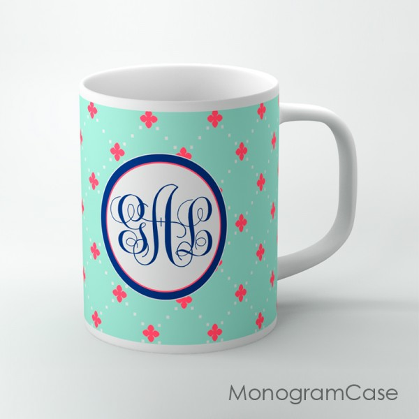 Cute mint pattern coral flowers navy monogram customized cup