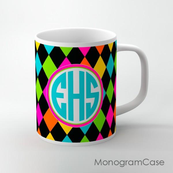 Diamonds multicolored design aqua monogrammed coffee mug