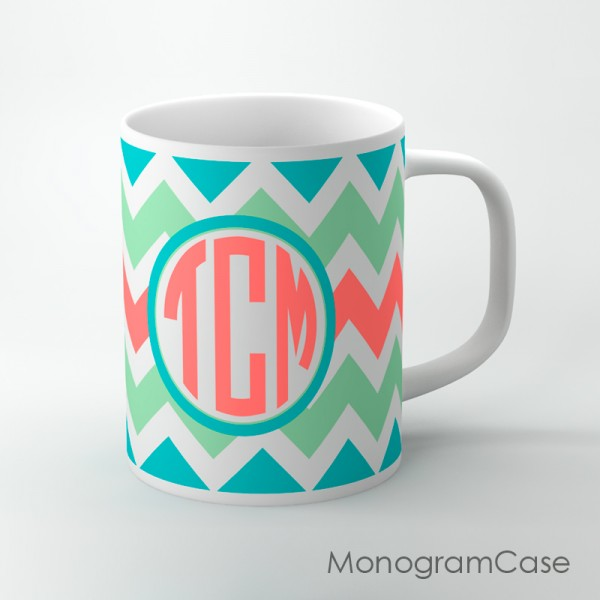 Fresh mint turquoise coral chevron circle monogrammed mug