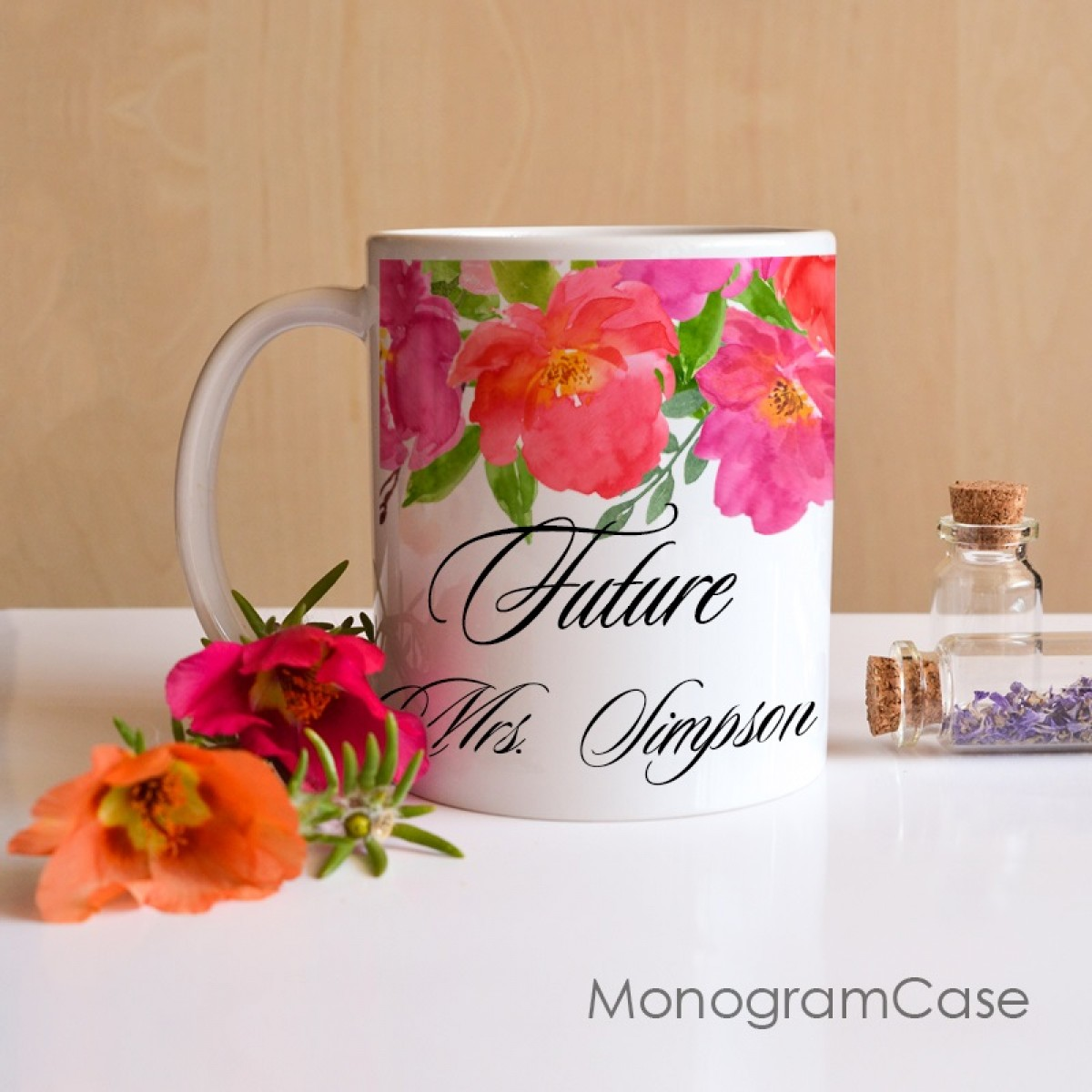 Future Mrs last name mug for bachelorette party| MonogramCase