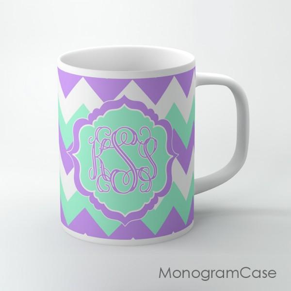 Lavender mint pastel fresh chevron customized coffee mug