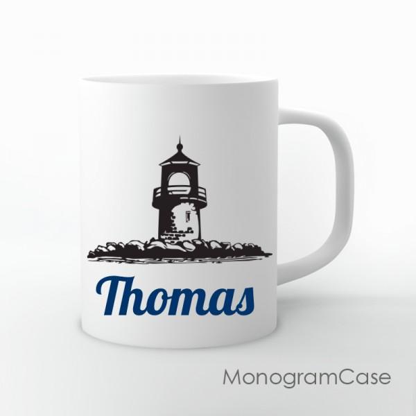 Lighthouse personalized nautical coffee mug