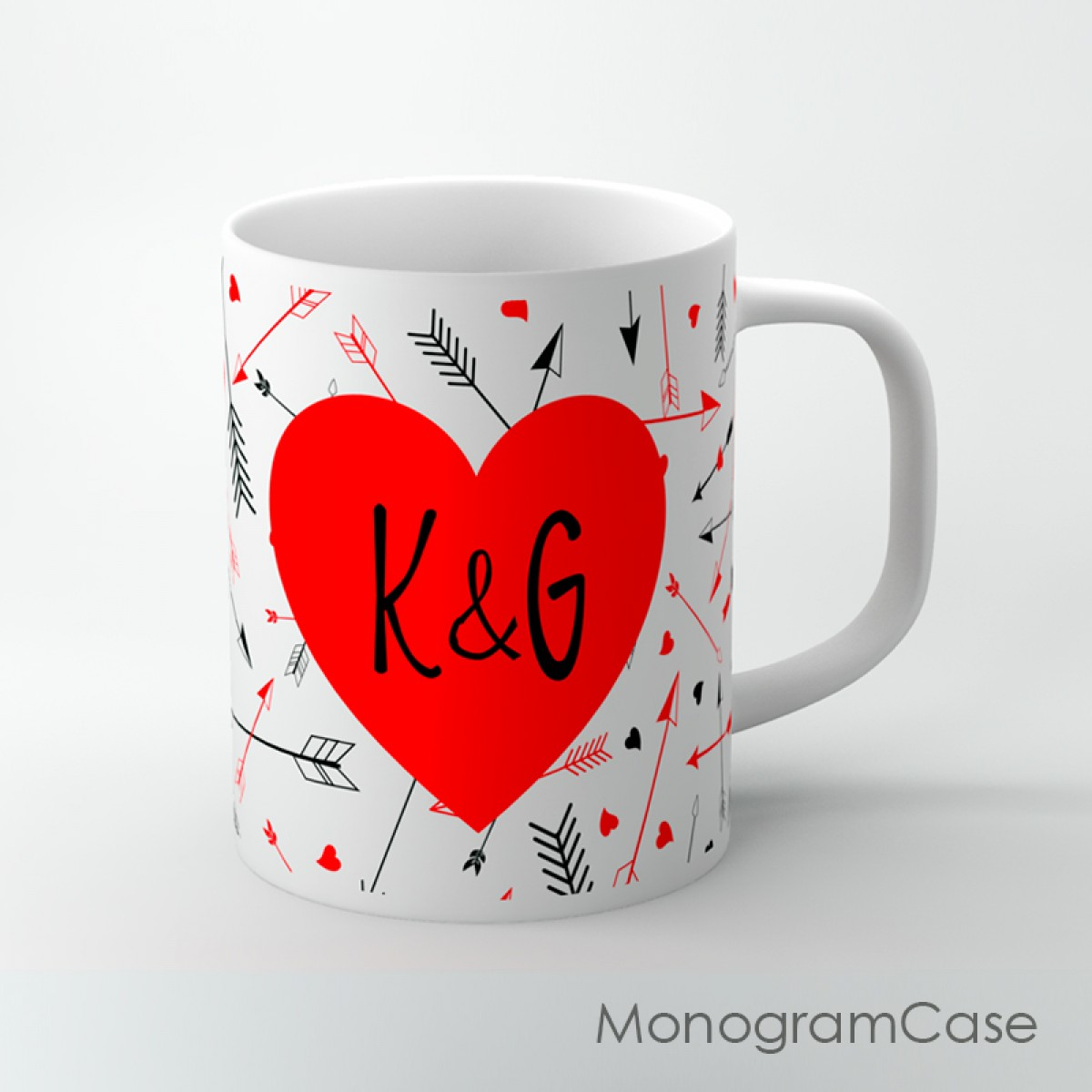 Love Arrows Red Heart Coffee Cup Monogramcase
