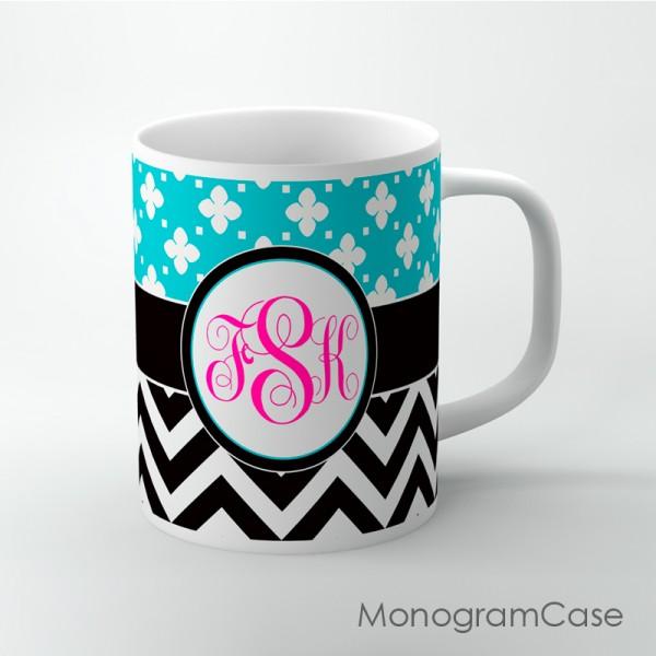 Mug turquoise floral pattern black chevron magenta monogram