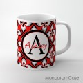 Red black white grey floral design coffee mug