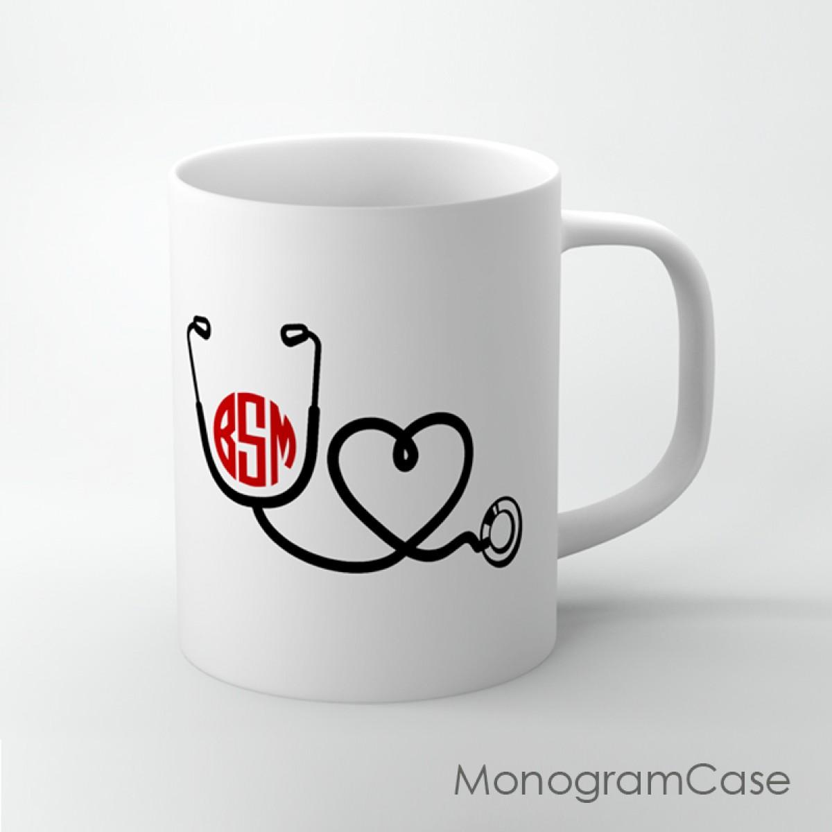 doctor  nurse stethoscope design monogram coffee mug