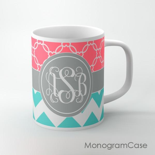 Stylish coral pattern light teal zig-zag grey monogrammed ribbon mug