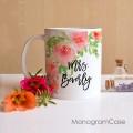 Unique floral Mrs wedding coffee mug