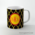 Yellow black moroccan pattern red monogrammed cup