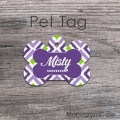 Ikat lavender bone label pet tag