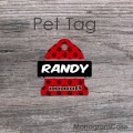 Black red paws print pet tag personalized