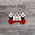 Bone tag red black polkadots white moroccan pattern