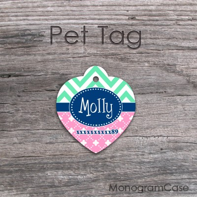 Chevron mint pink flowers cats or dogs tags