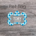 Grey bone label blue personalized pet tag