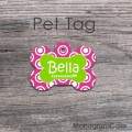 Hot pink white circles lime dog name tag